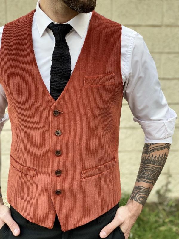Мужская жилетка терракотового цвета. Арт.:3-1253-3