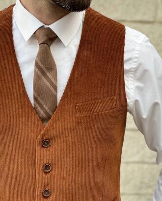 Мужской вельветовый жилет терракотового цвета. Арт.: 3-1254-3