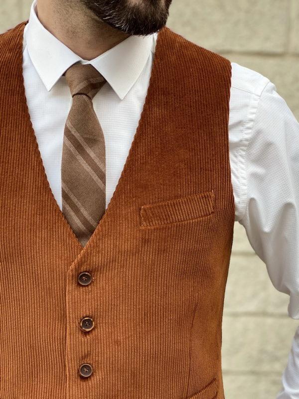 Мужской вельветовый жилет терракотового цвета. Арт.:3-1254-3