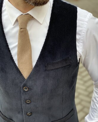 Мужской вельветовый жилет черного цвета. Арт.: 3-1255-3