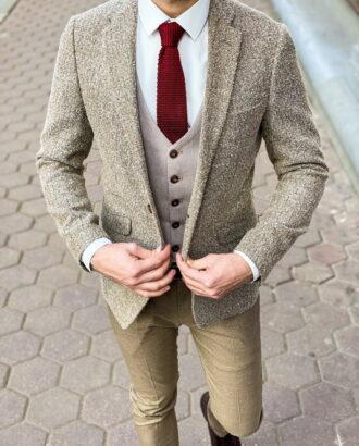 Мужской пиджак бежевого цвета. Арт.: 2-1257-3