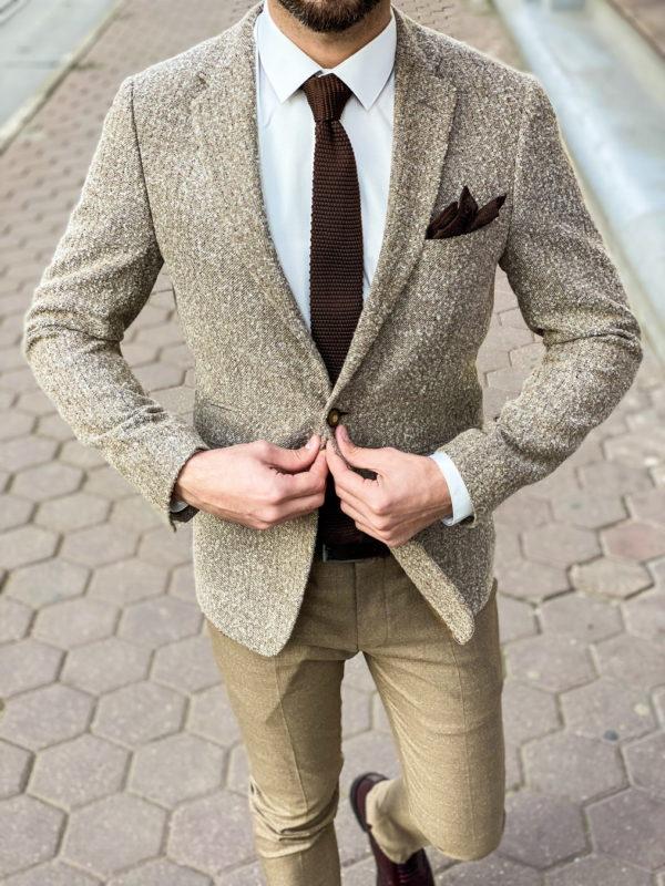Мужской пиджак бежевого цвета. Арт.:2-1257-3