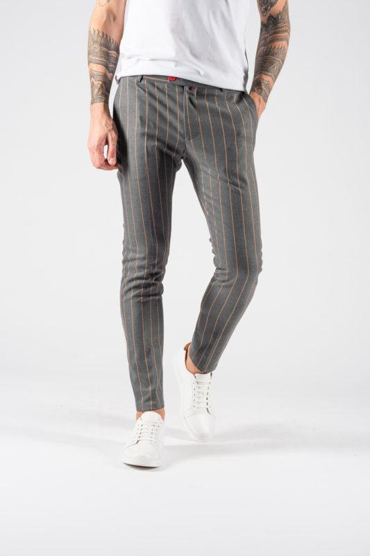 Полосатые мужские брюки серого цвета. Арт.:6-1228-3