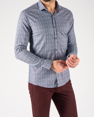 Мужская рубашка с узорами синего цвета. Арт.:5-1239-8