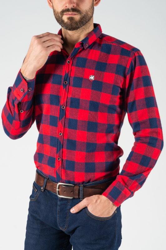 Фланелевая рубашка в клетку красно-синего цвета. Арт.:5-1244-26