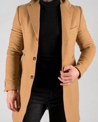 Бежевое мужское пальто. Арт.:1-1310-10