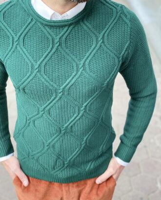 Джемпер зеленого цвета с ромбовидным узором. Арт.: 8-1256