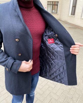 Утепленное мужское пальто синего цвета. Арт.: 1-1308-10