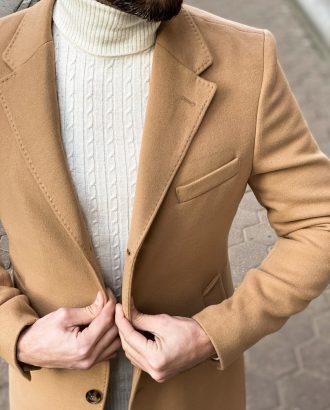 Бежевое мужское пальто. Арт.: 1-1310-10