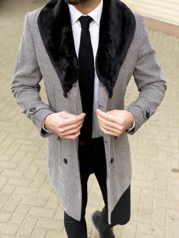 Мужское пальто с меховым воротником. Арт.:1-1307-3