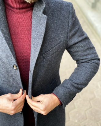 Зимнее классическое пальто синего цвета. Арт.: 1-1311-10