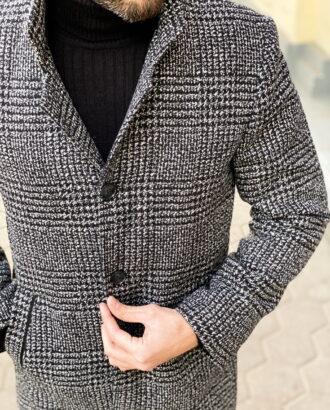Мужское зимнее пальто в клетку. Арт.:1-1301-3