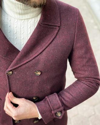 Зимнее мужское бордовое пальто. Арт.: 1-1312-10
