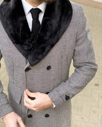 Мужское пальто с меховым воротником. Арт.: 1-1307-3