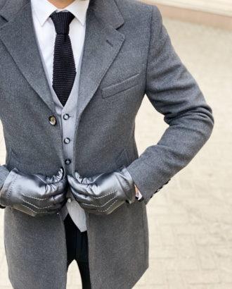 Зимнее пальто темно-серого цвета. Арт.: 1-1304-10