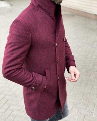Мужское пальто бордового цвета. Арт.: 1-1306-10