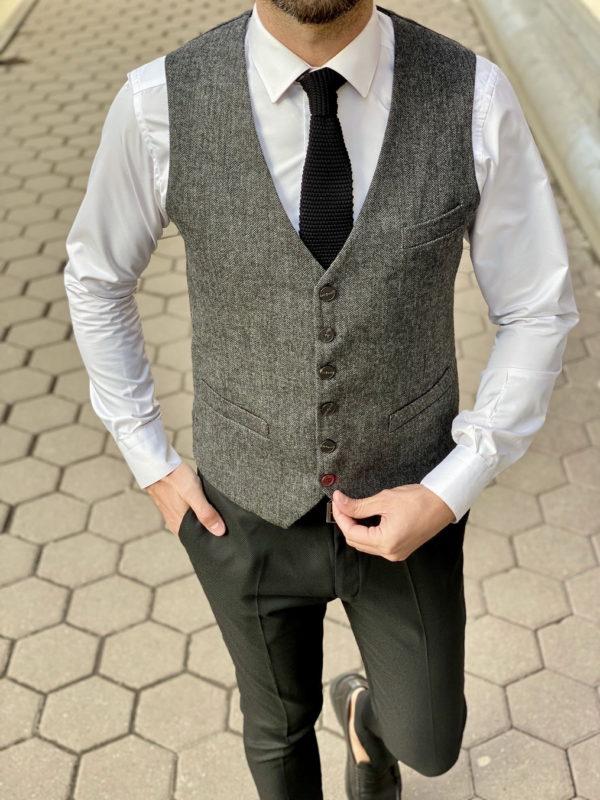 Мужской жилет серого цвета. Арт.:3-1327-10