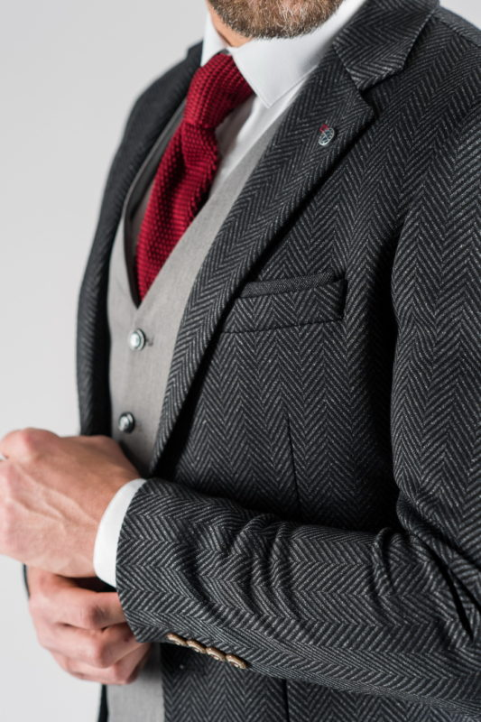 Приталенный мужской пиджак в ёлочку. Арт.:2-1314-5