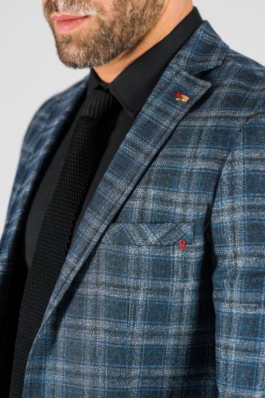 Мужской пиджак синего цвета в клетку. Арт.:2-1317-22