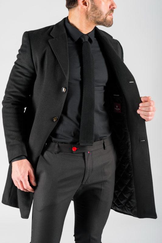 Зимнее мужское пальто черного цвета. Арт.:1-1309-10