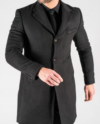 Зимнее мужское пальто черного цвета. Арт.: 1-1309-10