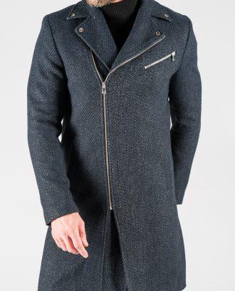 Мужское синее пальто с косым бортом. Арт.:1-1318-2