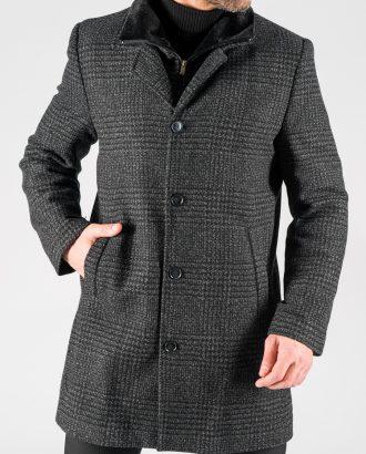Мужское серое пальто в клетку. Арт.:1-1319-2
