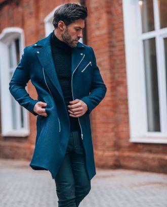 Стильное пальто синего цвета. Арт.:1-1320-2