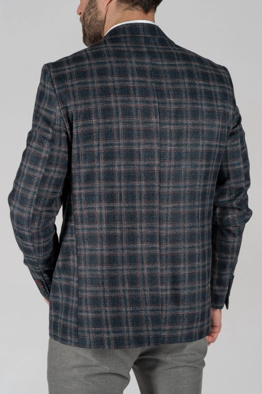 Мужской пиджак синего цвета в клетку. Арт.:2-1323-22