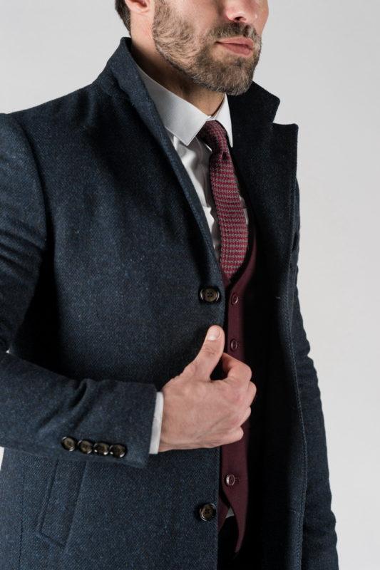 Зимнее классическое пальто синего цвета. Арт.:1-1311-10