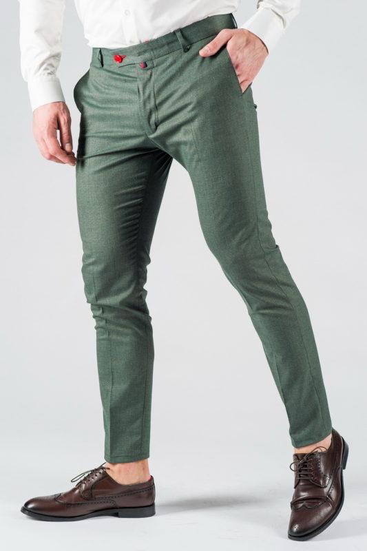 Зауженные мужские брюки зеленого цвета. Арт.:6-1325-3