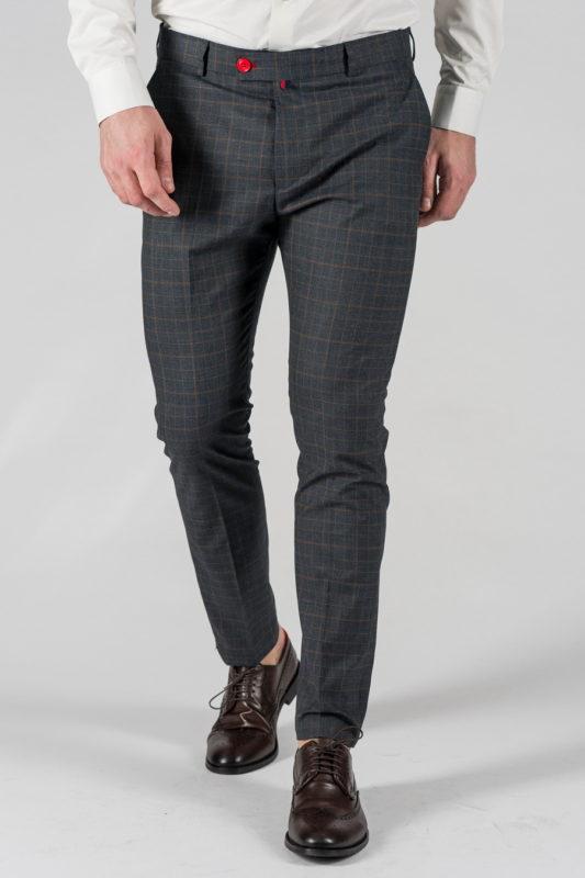 Мужские брюки синего цвета в клетку. Арт.:6-1326-3