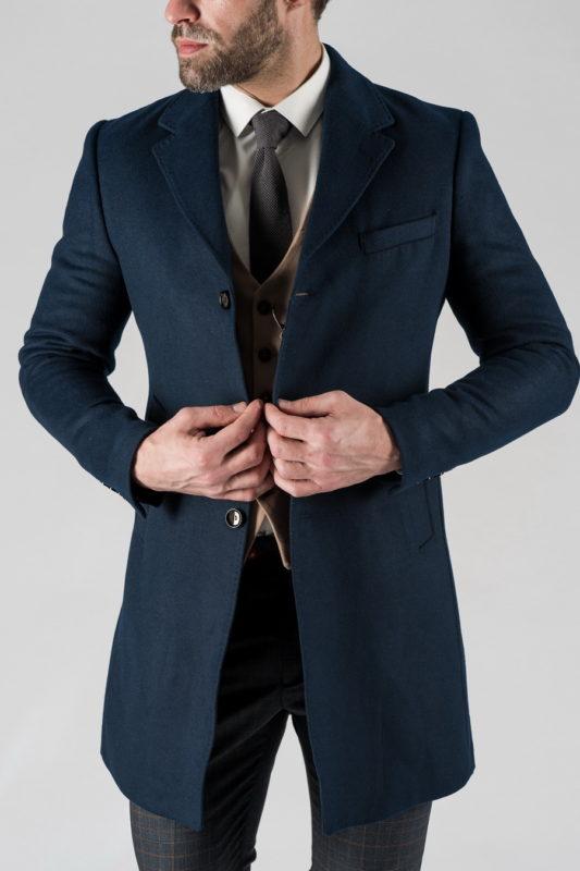 Мужское зимнее пальто синего цвета. Арт.:1-1313-10