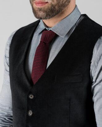 Вельветовый жилет  черного цвета. Арт.:3-1328-3