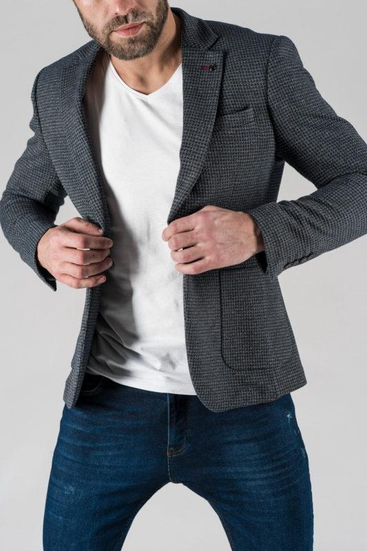 Мужской пиджак casual в мелкую клетку. Арт.:2-1329-5