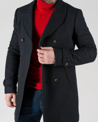 Утепленное мужское пальто синего цвета. Арт.:1-1308-10