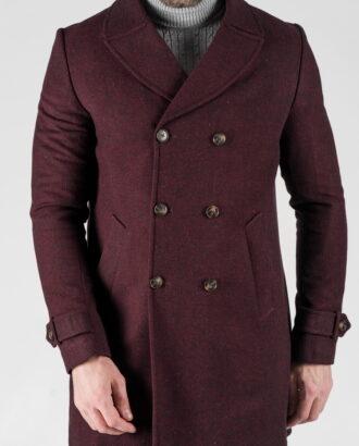 Зимнее мужское бордовое пальто. Арт.:1-1312-10