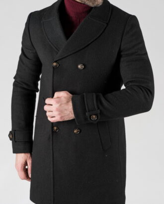 Мужское зимнее двубортное пальто. Арт.: 1-1303-10