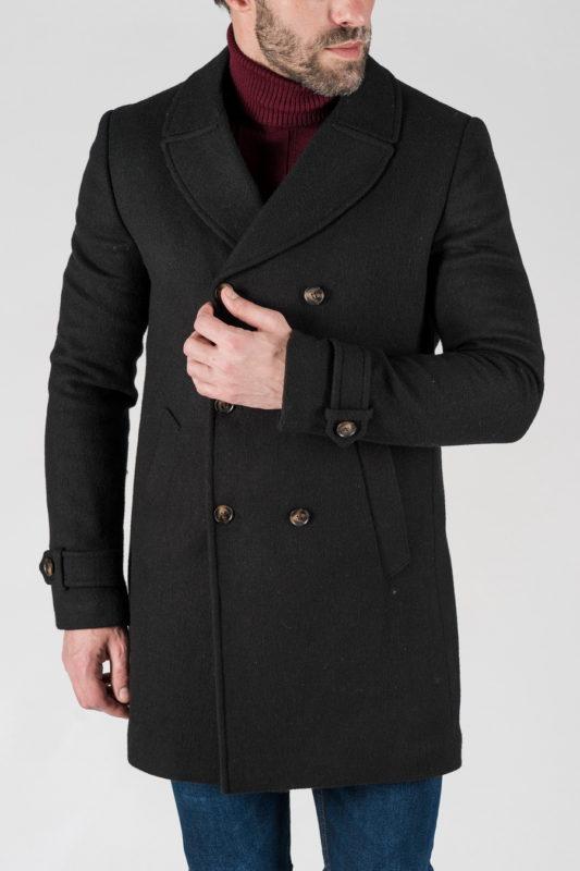 Мужское зимнее двубортное пальто. Арт.:1-1303-10