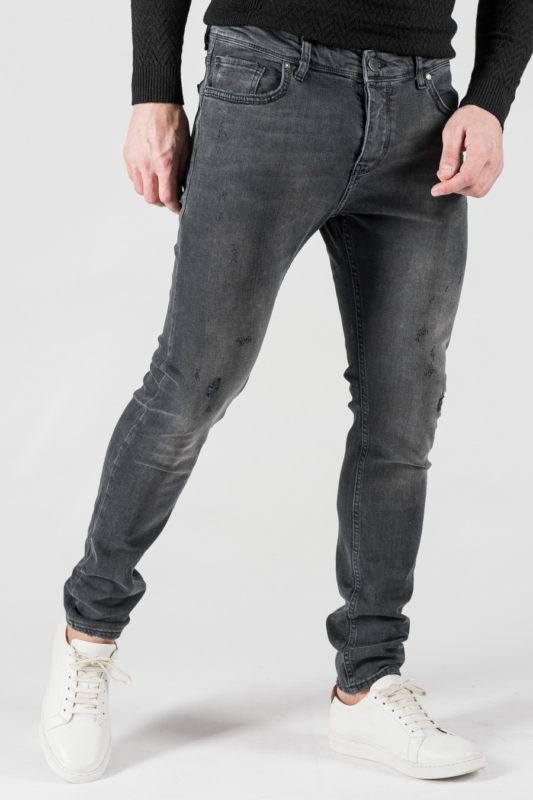 Зауженные мужские джинсы серого цвета. Арт.:7-1306