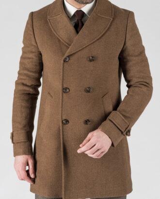 Зимнее двубортное пальто горчичного цвета. Арт.: 1-1305-10
