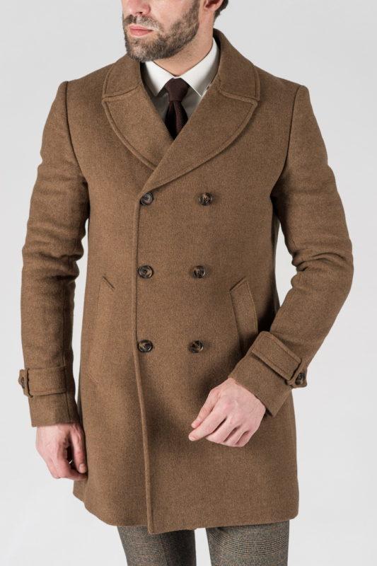 Зимнее двубортное пальто горчичного цвета. Арт.:1-1305-10