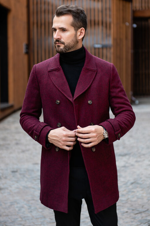 Мужское пальто бордового цвета. Арт.:1-1306-10