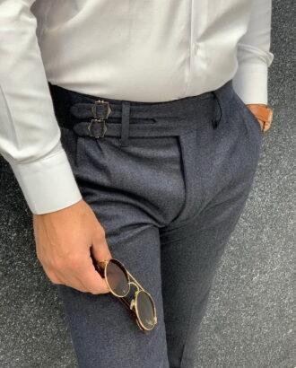 Стильные мужские брюки серого цвета на ремешках. Арт.:6-1324-3