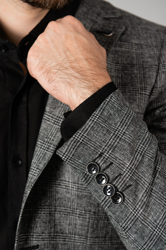 Клетчатый пиджак серого цвета. Арт.:2-1405-2