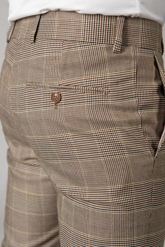 Зауженные бежевые брюки в клетку. Арт.:6-1433-3
