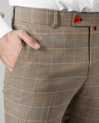 Зауженные бежевые брюки в клетку. Арт.: 6-1433-3