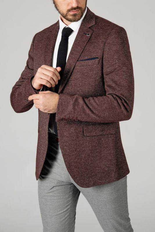 Мужской пиджак бордового цвета в ёлочку. Арт.:2-1409-2