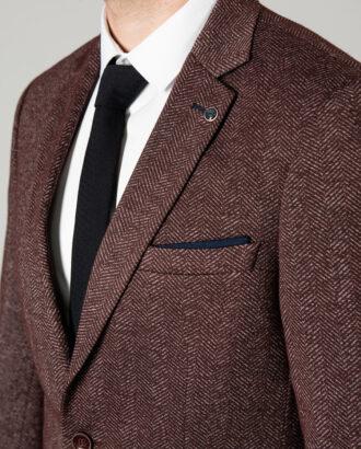 Мужской пиджак бордового цвета в ёлочку. Арт.: 2-1409-2