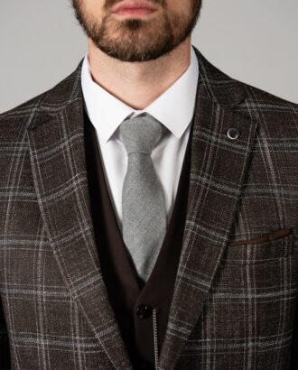 Мужской коричневый пиджак в клетку. Арт.: 2-1424-2